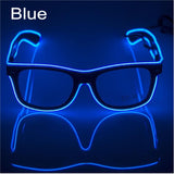 El Wire Neon Effect Light Up Glow Party Glasses With On/flashing Blue Novelty