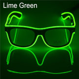 El Wire Neon Effect Light Up Glow Party Glasses With On/flashing Lime Green Novelty