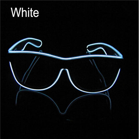 El Wire Neon Effect Light Up Glow Party Glasses With On/flashing White Novelty