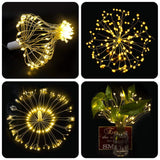 198 Led Fairy Starburst Firework Battery Operated Hanging Light 8 Modes W/remote - Warm White