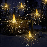 120 Led Fairy Starburst Firework Battery Operated Hanging Light 8 Modes W/remote - Warm White