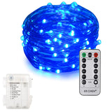 100 LED Fairy String Light w/ 8 Function Battery Case and Remote - 10 Meters