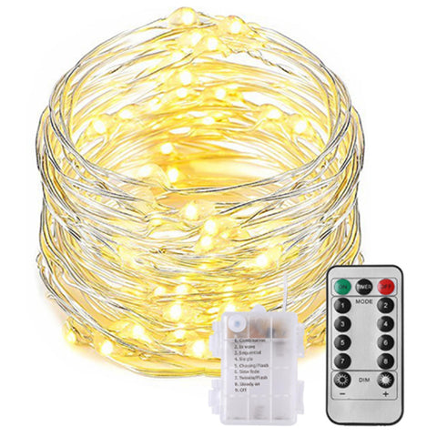10 Meter 100 Led Warm White Fairy String Light With 8 Function Battery Case And Remote Control