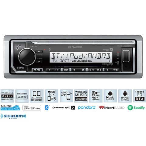 Kenwood Kmr-M322Bt Marine Digital Media Receiver With Bluetooth® Radio