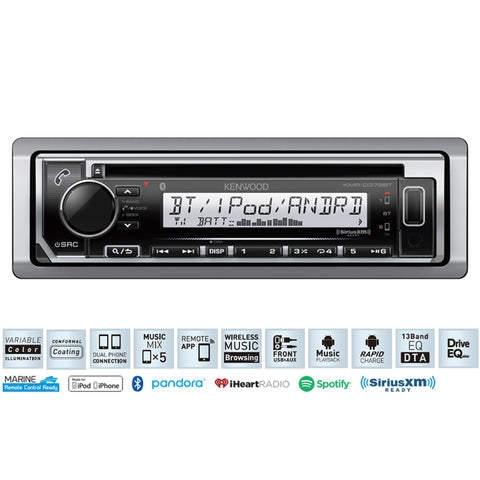 Kenwood Kmr-D372Bt Marine Cd Receiver With Bluetooth®