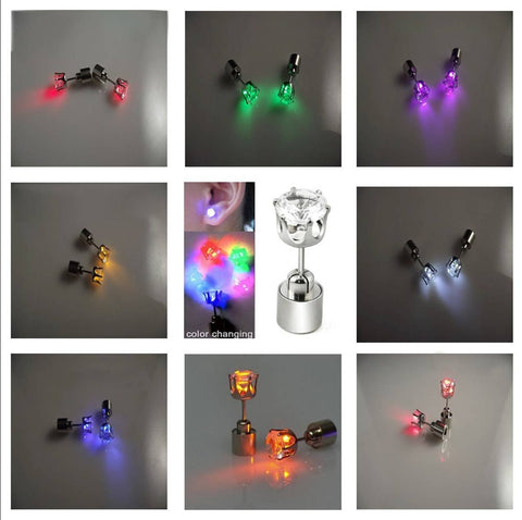 LED Light-Up Stud Earrings - 9 colours available - expert island