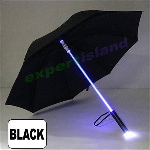 Illuminated Led Umbrella Light Up Safety Futuristic Style Black Novelty