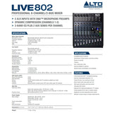 Alto Live 802 Professional 8-Channel / 2-Bus Mixer Audio
