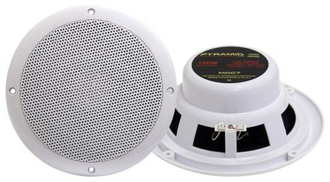 Pyramid (Mdc7) 6.5 Marine 120 Watts Dual Cone Waterproof Stereo Speakers