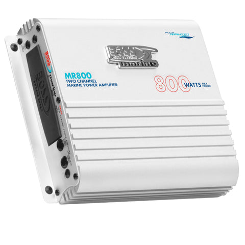 BOSS AUDIO MR800 800 Watt 2-Channel Full Range Marine Amplifier with LED Illumination