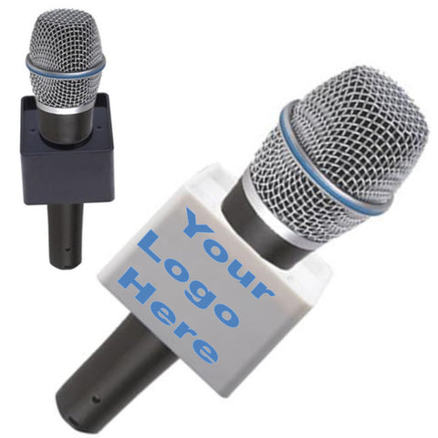 Microphone Station Flag,  Interview Logo Identifier - Cube Shape, Black or White
