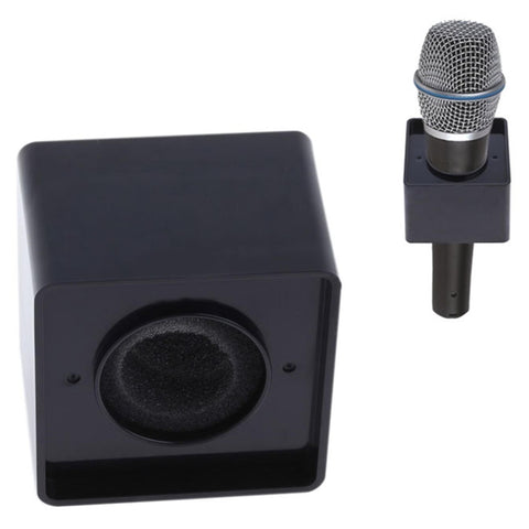 Microphone Station Flag Interview Logo Identifier - Plastic Cube Shape Black