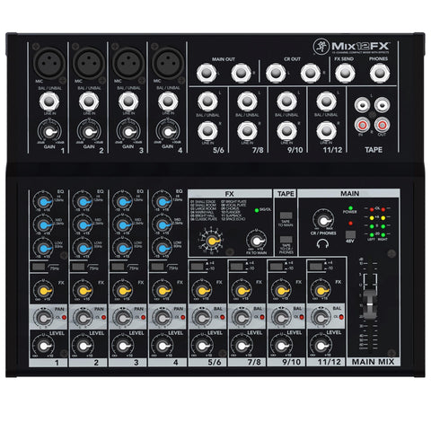 Mackie Mix12Fx Compact 12-Channel Mixer With Effects Audio