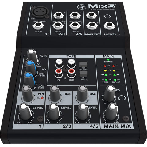 Mackie Mix5 Compact 5-Channel Mixer Audio