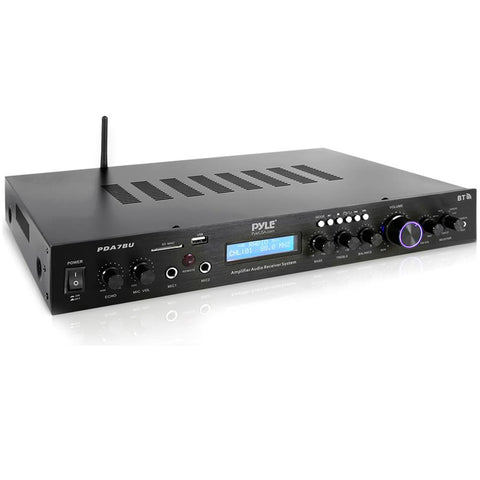 PYLE PDA7BU Amplifier Audio Receiver Sound System with Bluetooth Streaming and Talk Over
