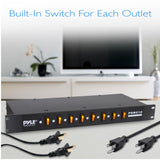 OPEN BOX DISPLAY - PYLE PDBC10  8 Outlet Rack Mount Power Supply Center w/Each Outlet Switch