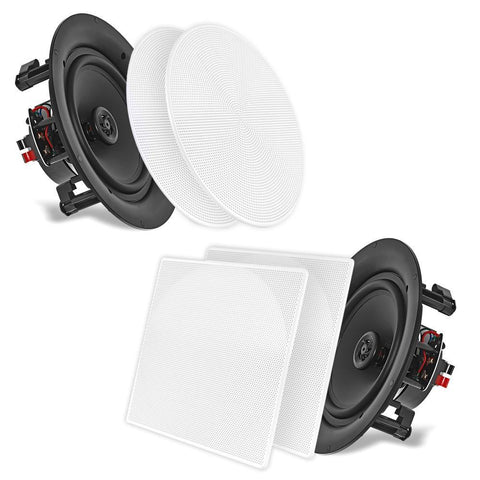 "Pyle (PDIC66) 6.5"" In-Wall / In-Ceiling Dual Stereo Speakers, 200 Watt, 2-Way, Flush Mount, White (Pair) - expert island"
