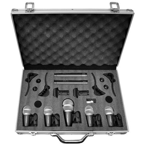 Pyle Pdkm7 Wired Drum 7 Microphone Kit With Carry Case & Mounting Accessories