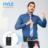PYLE PDWM1958B Compact UHF Wireless Microphone System w/ Headset and Lavalier Mics