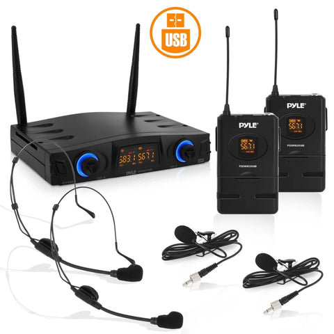 PYLE PDWM2958B Compact UHF Pro Wireless Microphone System - USB Powered Desktop Mic Receiver System