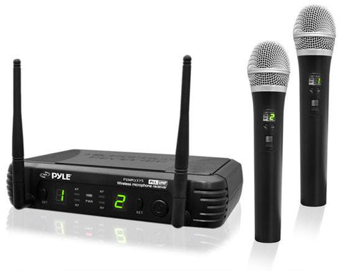 Pyle Pdwm3375 Premier Series 2-Channel Uhf Wireless Handheld Microphone System With Selectable