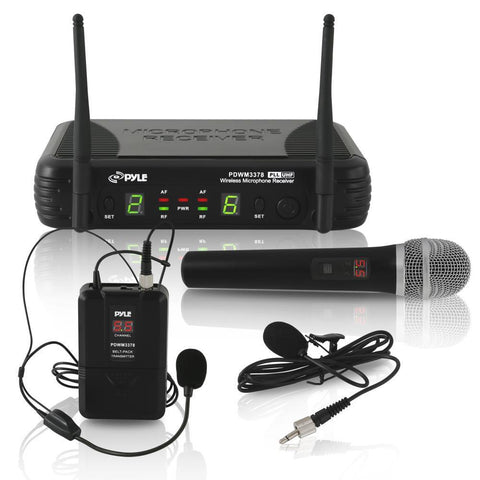 Pyle Pdwm3378 Uhf Wireless Microphone System Kit Includes Handheld Mic Headset Lavalier & Beltpack