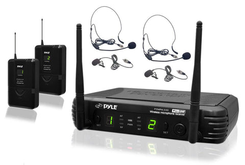 Pyle PDWM3400 Premier Series Professional UHF Microphone System with Two Body-Pack Transmitters, Headsets and Lavaliers - expert island