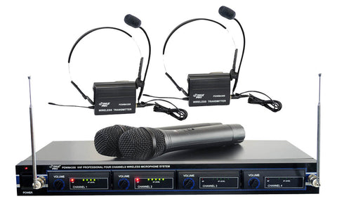 Pyle (PDWM4300) VHF Wireless Rack Mount Microphone System with 2 Handheld Mics, Belt Pack Transmitters, Lavaliers & Headset Mics - expert island