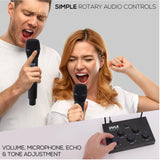 PYLE PDWMKHRD23 Optical/Coaxial Input Karaoke Mixer with 2 UHF Wireless Microphone