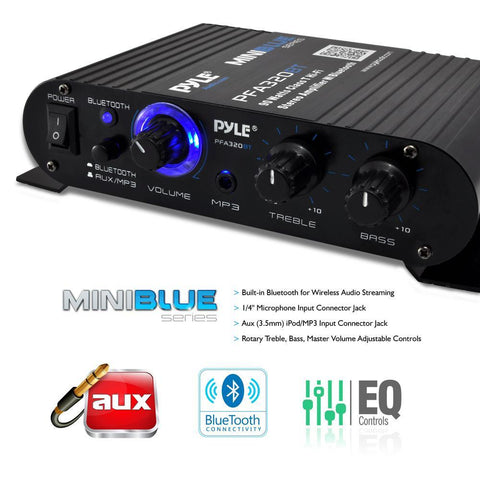 Pyle Pfa330Bt Bluetooth 90 Watt Mini Blue Compact Amplifier 3.5Mm Aux Input