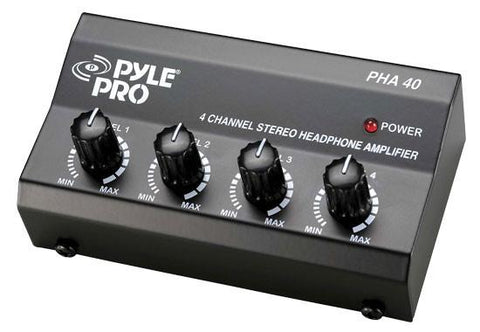 Pylepro (Pha40) 4 Channel Stereo Headphone Amplifier Headphones