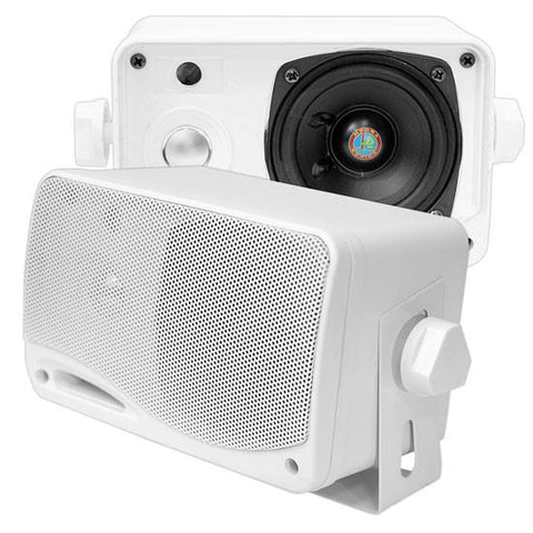 Pyle (PLMR24) 3.5'' 200 Watt 3-Way Weather Proof Mini Box Speaker System - Black, White or Silver - expert island