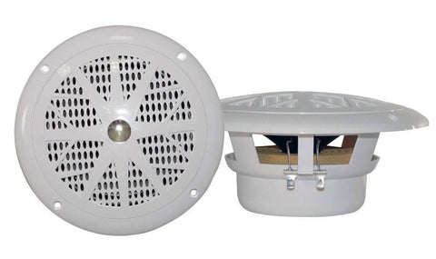 Pyle Plmr4 4 Dual Cone Waterproof Stereo Speaker System (Pair) - 2 Colours Available White Marine