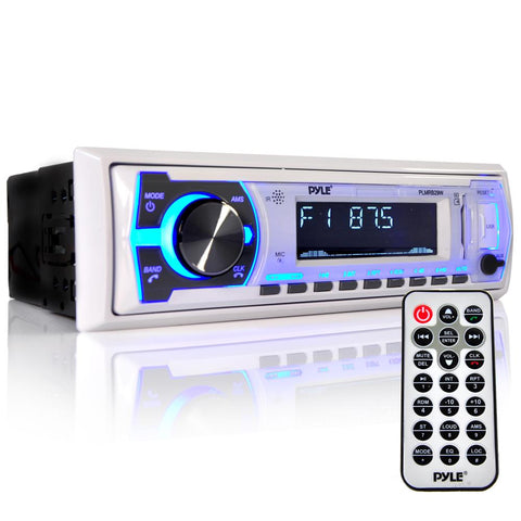 PYLE (PLMRB29W) Bluetooth In-Dash Stereo Radio Head unit MP3 Playback, USB/SD Card Readers, Aux (3.5mm) Input, Remote Control, - expert island