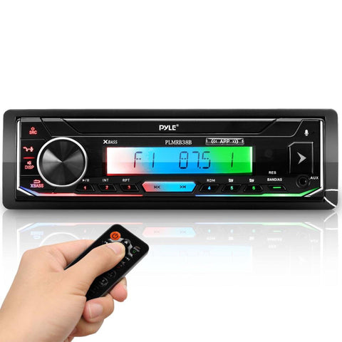 PYLE PLMRB38B Bluetooth Marine Stereo Receiver - AM/FM/MP3/USB/AUX/SD (Black)