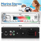 PYLE PLMRB39W Bluetooth Marine Stereo Receiver - AM/FM/MP3/USB/AUX/SD (White)