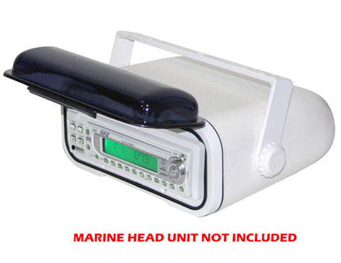Pyle Plmrcw3 Universal Marine Stereo Housing W/full Chassis Wired Casing - White Accessories