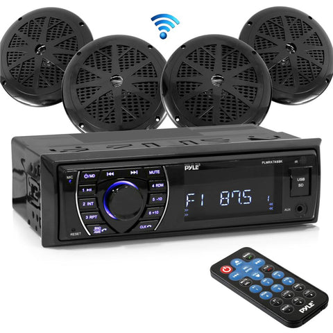 Pyle Plmrkt48Bk Bluetooth Marine Receiver Stereo & 6.5 Speaker Kit - (4 Speakers) Audio