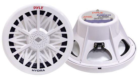 "Pyle (PLMRW8) Single 8"" 400 Watt White 4 Ohm Marine Subwoofer - expert island"