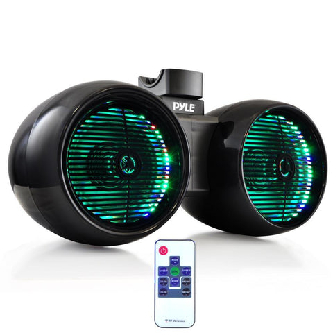 "PYLE PLMRWB652LEB 6.5"" Dual Marine Wakeboard / Tower Speakers, Built-in Programmable Multi-Color LED Lights w/ Remote,  400 Watt - Black"