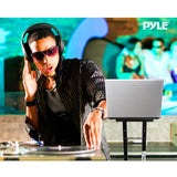 Pyle Plpts35 Universal Portable Foldable Professional Dj Laptop Stand With Second Accessory Tray