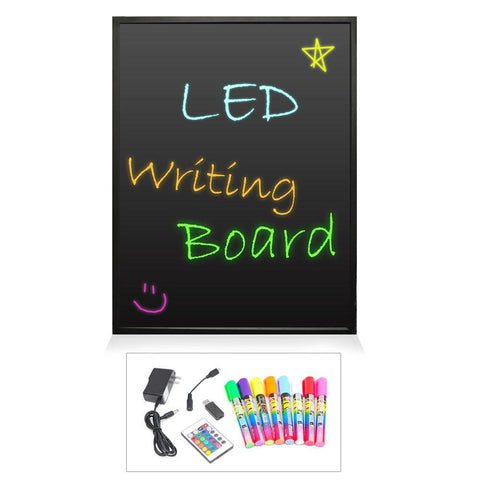 PYLE (PLWB6080) Erasable Illuminated LED Writing Board w/ Remote Control and 8 Fluorescent Markers, 32'' x 24'' - expert island