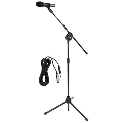 PylePro (PMKSM20) Microphone and Tripod Stand With Extending Boom & Mic Cable Package