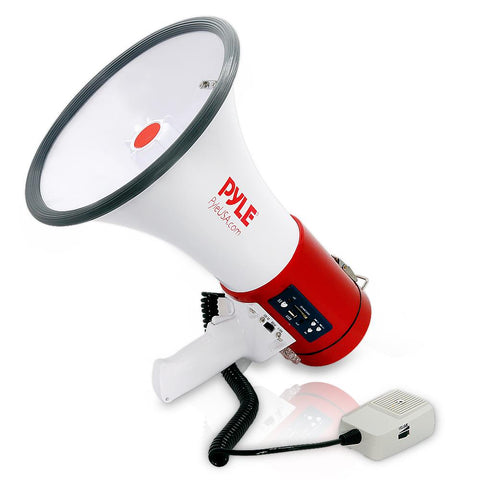 PYLE PMP57LIA Professional Megaphone - Comes with Rechargeable Battery and Built-in USB Flash & SD