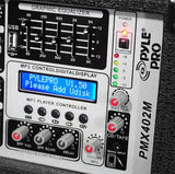 Pyle Pmx402M 4-Channel 400 Watt Powered Mixer Aux (3.5Mm) Input Sd Memory Card & Usb Flash Drive