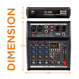 PYLE PMX464 4-Channel Audio Mixer with Bluetooth, MP3, Recording, & Interface