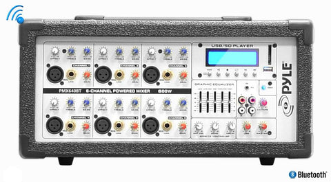 Pyle PMX640BT 6-Channel 600 Watt Bluetooth Mixer with Balanced Mic & Line Inputs, USB & SD Card Readers - expert island