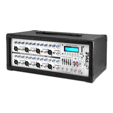 Pyle Pmx802M 8-Channel 800 Watt Powered Mixer Aux (3.5Mm) Input Sd Memory Card & Usb Flash Drive