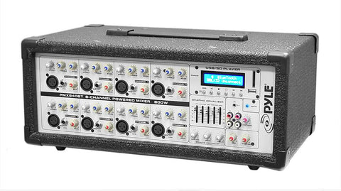 Pyle PMX840BT 8-Channel 800 Watt Bluetooth Mixer with Balanced Mic & Line Inputs, USB & SD Card Readers - expert island
