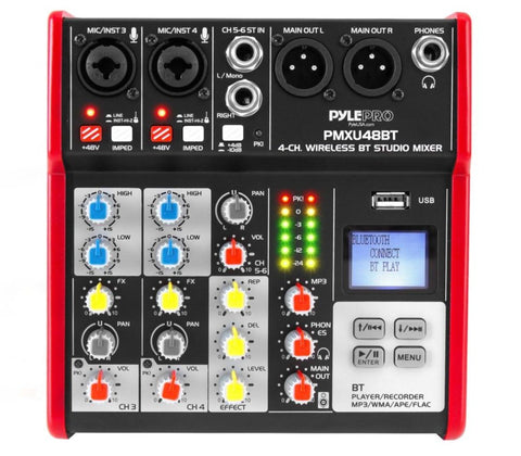 Pyle Pro PMXU48BT 4-Ch. Bluetooth Studio Mixer - Pro Audio Digital DJ Audio Mixer Console